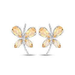 Srebrne kolczyki z naturalnymi cytrynami motylki 1,28 ct
