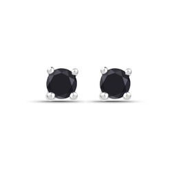 Srebrne kolczyki z naturalnymi czarnymi diamentami 0,25 ct