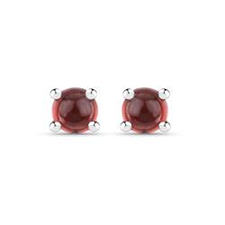 Srebrne kolczyki z naturalnymi granatami o kaboszonowym szlifie 0,43 ct