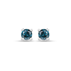 Srebrne kolczyki z naturalnymi niebieskimi diamentami 0,20 ct