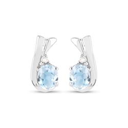 Srebrne kolczyki z naturalnymi niebieskimi topazami i diamentami 0,74 ct