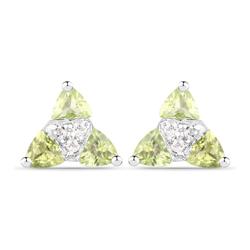 Srebrne kolczyki z naturalnymi perydotami i diamentami 0,94 ct