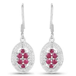 Srebrne kolczyki z naturalnymi rubinami i kryształami górskimi 0,82 ct