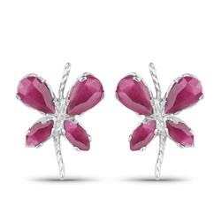 Srebrne kolczyki z naturalnymi rubinami motylki 1,48 ct