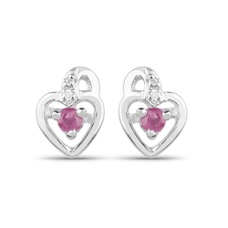 Srebrne kolczyki z naturalnymi rubinami oraz diamentami serduszka 0,31 ct