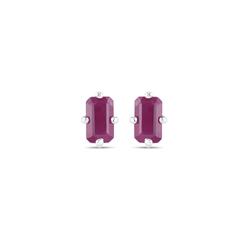 Srebrne kolczyki z naturalnymi rubinami ośmiokąt 5x3 mm 1,00 ct
