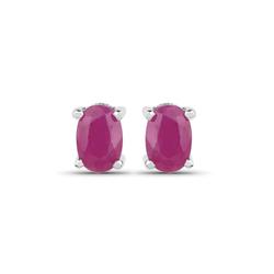 Srebrne kolczyki z naturalnymi rubinami owalne 6x4 mm 1,30 ct