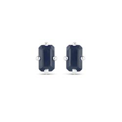Srebrne kolczyki z naturalnymi szafirami niebieskimi ośmiokąty 6x4 mm 1,65 ct