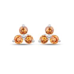 Srebrne kolczyki z naturalnymi szafirami pomarańczowymi 0,54 ct