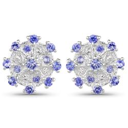 Srebrne kolczyki z naturalnymi tanzanitami, kryształami górskimi 1,36 ct