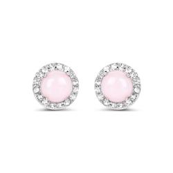 Srebrne kolczyki z różowymi opalami i kryształami górskimi 1,36 ct