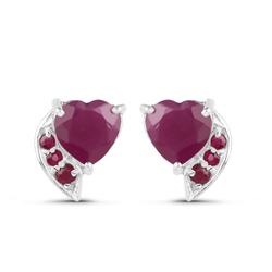 Srebrne kolczyki z rubinami w kształcie serduszek 1,78 ct