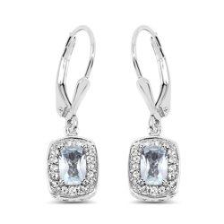 Srebrne kolczyki z topazami niebieskimi i kryształami górskimi 1,49 ct