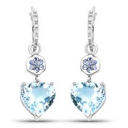 Srebrne kolczyki z topazami niebieskimi, tanzanitami, kryształami górskimi 7,33 ct