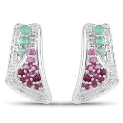 Srebrne kolczyki ze szmaragdami i rubinami oraz diamentami