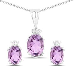 Srebrne komplet biżuterii z naturalnymi ametystami i diamentami 2,96 ct