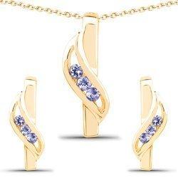 Srebrne komplet biżuterii z naturalnymi tanzanitami 0,21 ct