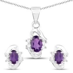 Srebrny komplet biżuterii kolczyki wisiorek łańcuszek naturalny ametyst i diamenty 1,11 ct