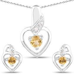 Srebrny komplet biżuterii w kształcie serca z naturalnymi cytrynami i diamentami 0,49 ct