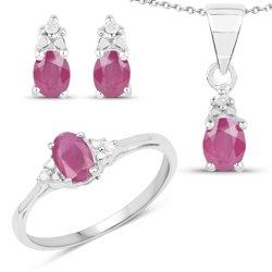 Srebrny komplet biżuterii wisiorek pierścionek i kolczyki z naturalnymi rubinami i diamentami 2,20 ct