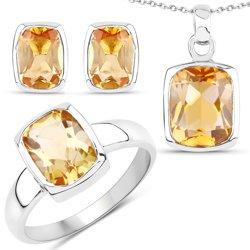 Srebrny komplet biżuterii z naturalnymi cytrynami 5,99 ct