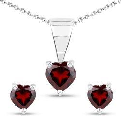 Srebrny komplet biżuterii z naturalnymi granatami w kształcie serca 1,05 ct