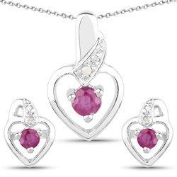 Srebrny komplet biżuterii z naturalnymi rubinami i diamentami 1,10 ct