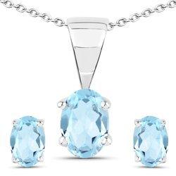 Srebrny komplet biżuterii z naturalnymi topazami niebieskimi 1,95 ct