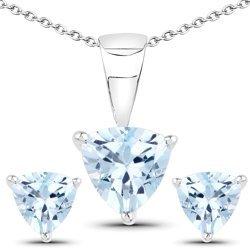 Srebrny komplet biżuterii z naturalnymi topazami niebieskimi 2,40 ct