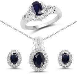 Srebrny komplet biżuterii z szafirami i kryształami górskimi 2,94 ct