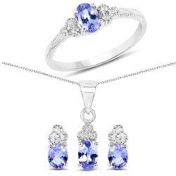 Srebrny komplet biżuterii z tanzanitami i kryształami górskimi 1.66 ct