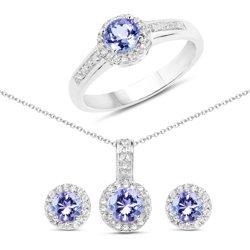 Srebrny komplet biżuterii z tanzanitami i kryształami górskimi 1.82 ct