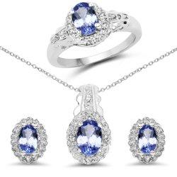 Srebrny komplet biżuterii z tanzanitami i kryształami górskimi 2,50 ct