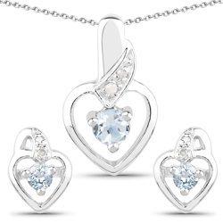 Srebrny komplet biżuterii z topazami niebieskimi i diamentami 0,59 ct
