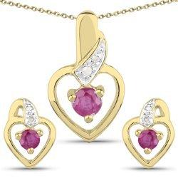 Srebrny komplet kolczyki i wisiorek + łańcuszek pokryty 14 ct żółtym złotem z naturalnymi rubinami i diamentami