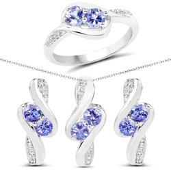 Srebrny komplet kolczyki wisiorek pierścionek z 8 naturalnymi tanzanitami i 32 kryształami górskimi 2.00 ct