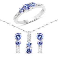 Srebrny komplet kolczyki wisiorek pierścionek z naturalnymi tanzanitami i kryształami górskimi 1.54 ct