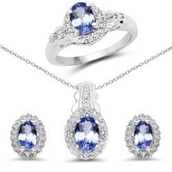 Srebrny komplet kolczyki wisiorek pierścionek z naturalnymi tanzanitami i kryształami górskimi 2,50 ct