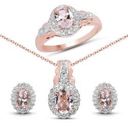 Srebrny komplet pozłacany 14 ct różowym złotem z naturalnymi morganitami i kryształami górskimi 2,68 ct