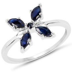 Srebrny pierścionek kwiat z naturalnymi szafirami niebieskimi 0,63 ct