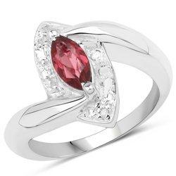 Srebrny pierścionek naturalny granat i diamenty 0,86 ct