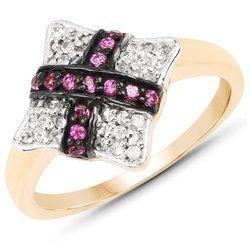 Srebrny pierścionek pokryty 14 ct żółtym złotem wysadzany naturalnymi rubinami i cyrkoniami 0,57 ct