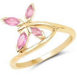 Srebrny pierścionek pokryty 14 ct żółtym złotem z 4 naturalnymi rubinami 0,52 ct