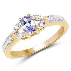 Srebrny pierścionek pokryty 14 ct żółtym złotem z naturalnym tanzanitem i 4 diamentami 0,46 ct