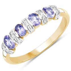 Srebrny pierścionek pozłacany 14 ct żółtym złotem z 4 naturalnymi tanzanitami i cyrkoniami 0,81 ct