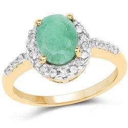 Srebrny pierścionek pozłacany 14 ct żółtym złotem ze szmaragdem i 26 kryształami górskimi 1,44 ct