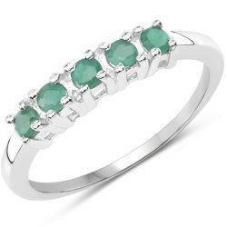 Srebrny pierścionek typu obrączka z 5 naturalnymi szmaragdami 0,35 ct