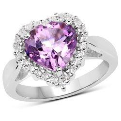 Srebrny pierścionek w kształcie serca duży naturalny ametyst i kryształ górski 3,53 ct