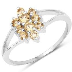 Srebrny pierścionek z 10 naturalnymi cytrynami 0,54 ct
