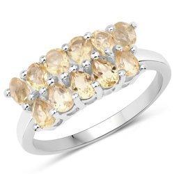 Srebrny pierścionek z 11 naturalnymi cytrynami 1,98 ct